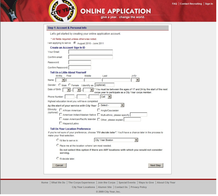 Image showing registration screen after the redesign.