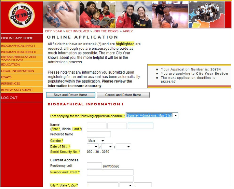 Image showing registration screen before the redesign.