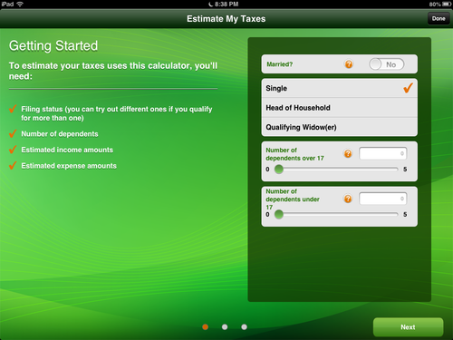 Image showing first Tax Estimator screen.
