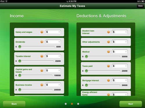 Image showing second Tax Estimator screen.