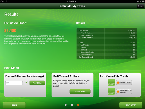 Image showing third Tax Estimator screen.