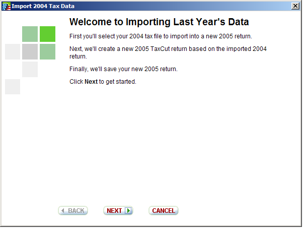 Image showing second import screen before redesign.
