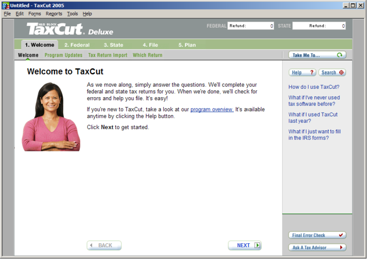 Image showing welcome screen before redesign.