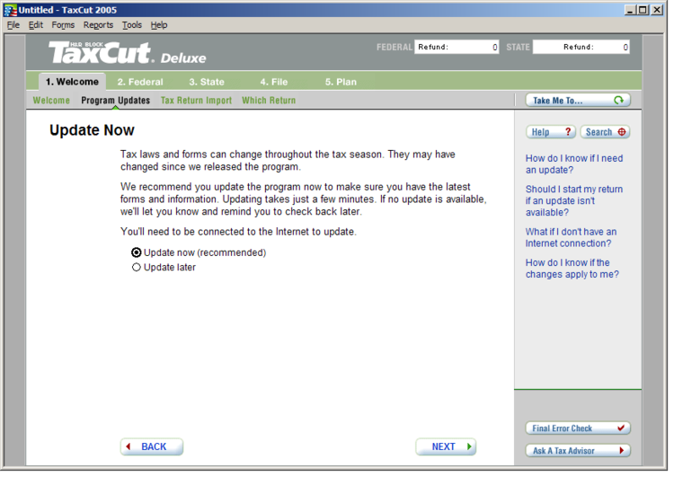 Image showing update screen before redesign.