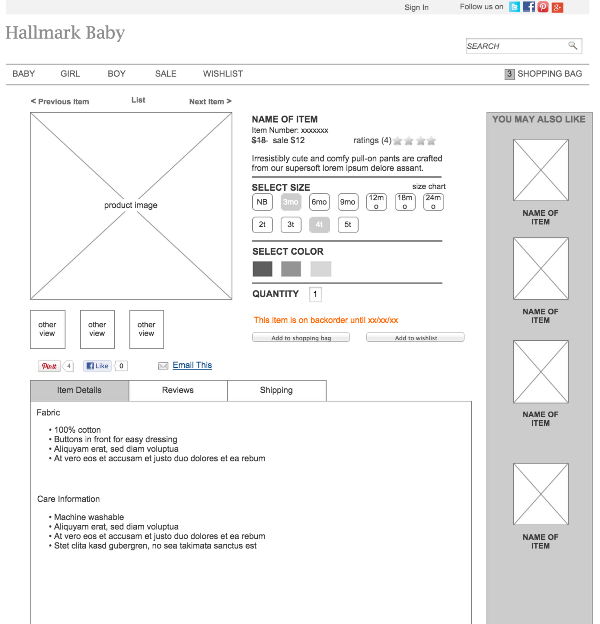 Image showing a wireframe of the product detail page.