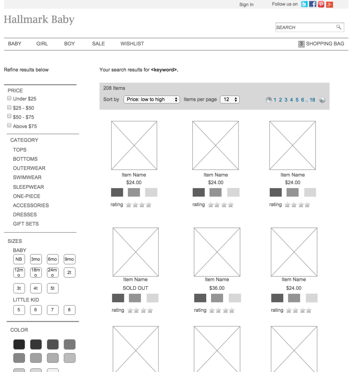 Image showing a wireframe of the product selection page.